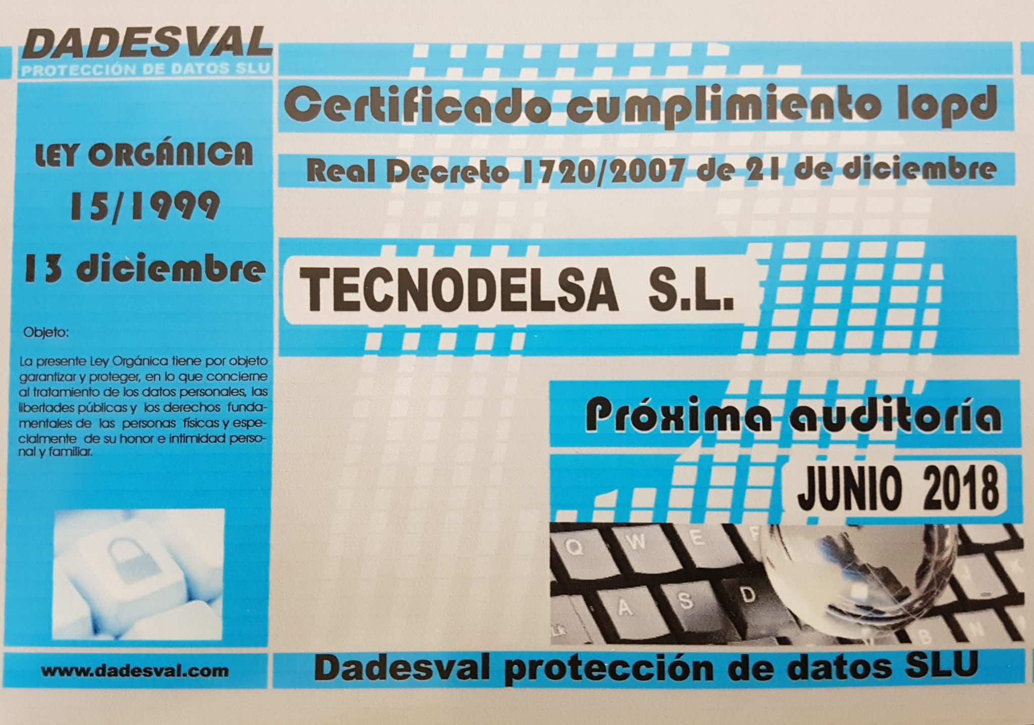 Cumplimiento protección de datos Tecnodelsa