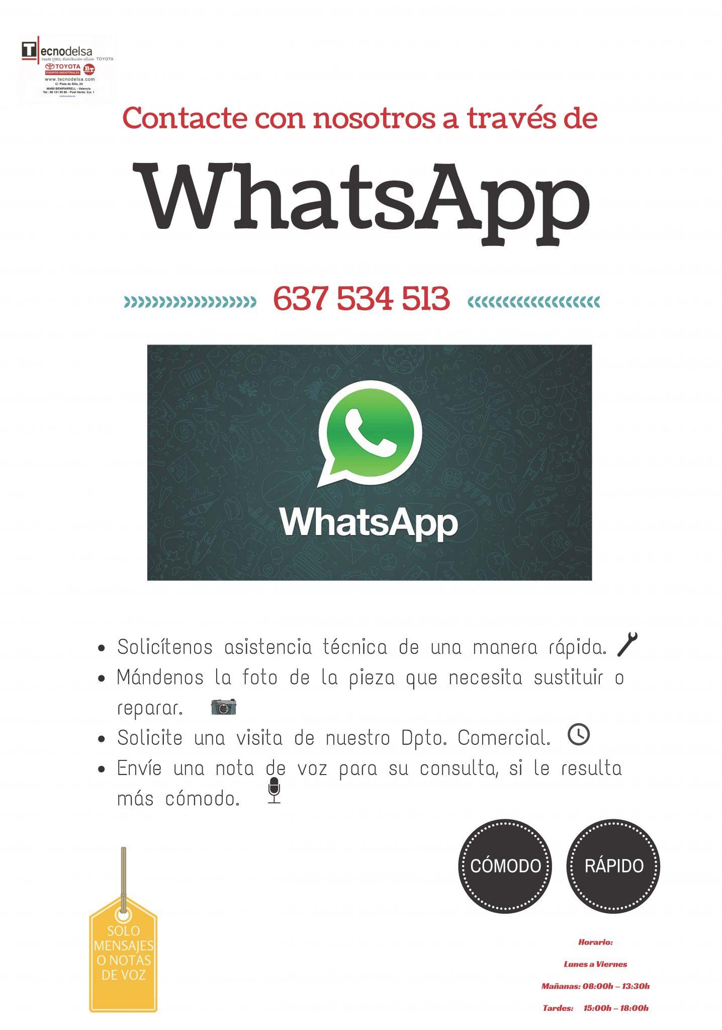 Contacte con Tecnodelsa por WhatsApp